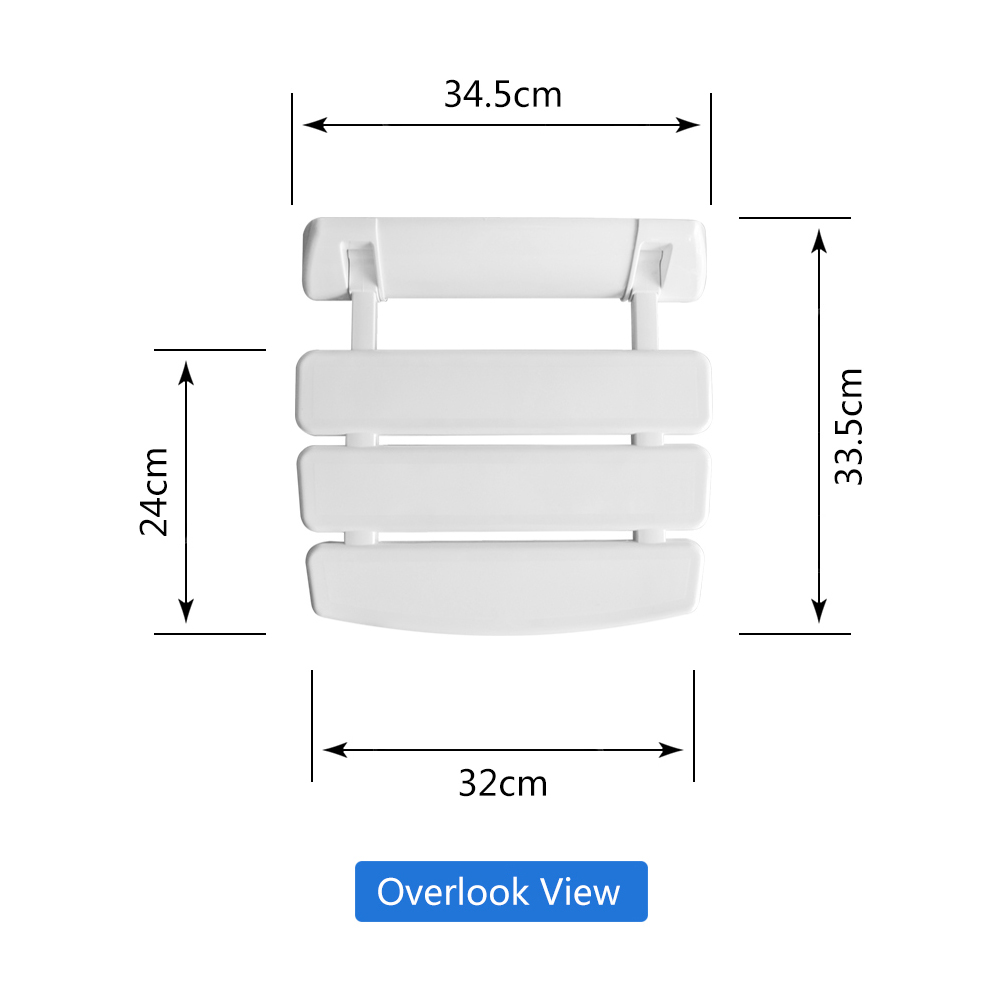Aluminum Alloy Saving Space Folding Shower Seat Relaxed Chairs For Porch Bathroom White Toilet Stool With 5 Fixing Points