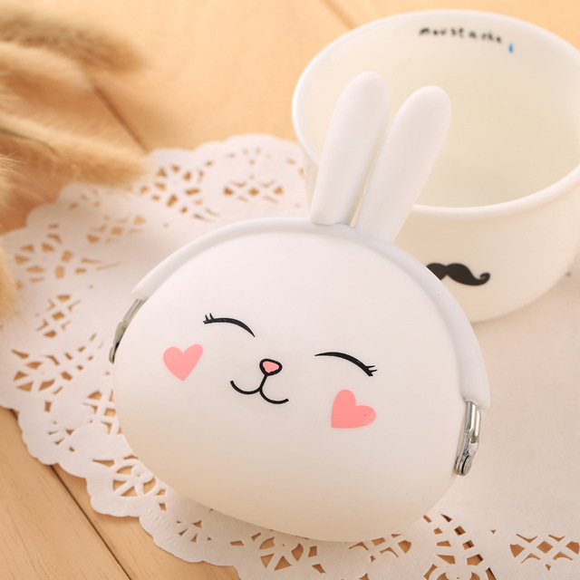 ISKYBOB New Fashion Coin Purse Lovely Kawaii Cartoon Rabbit Pouch Women Girls Small Wallet Soft Silicone Coin Bag Kid Gift Coin Purses & Holders