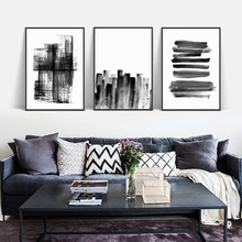 Black White Nordic Minimalist Abstract Line Simplicity Painting A4 Canvas Art Print Poster Office Wall Pictures Home Room Decor(China)