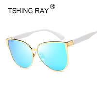 TSHING RAY New Oversized Cat Eye Women Sunglasses Fashion Female Mirror Sun Glasses Vintage Shades European