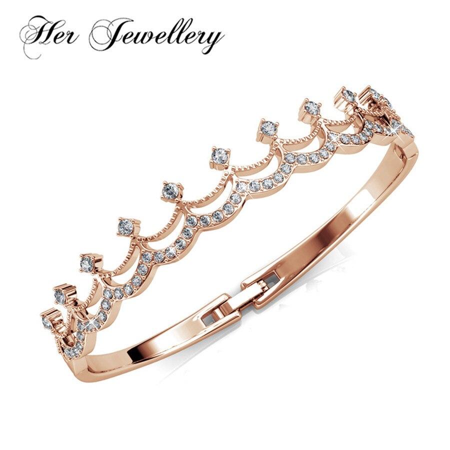 Sa conception de bijoux nouvelle couronne bracelet en or rose et bracelets pour les femmes faits avec des cristaux de Swarovski, bijoux à la mode HB0013