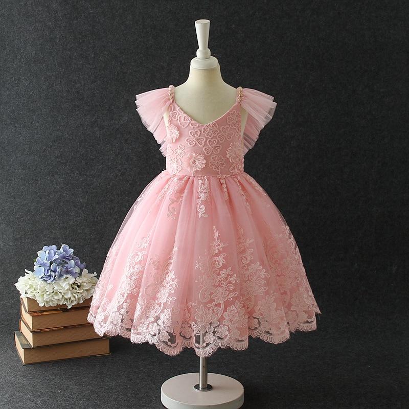 ruffles Sleeveless V collar Children' summer lace ball gowns wedding dress baby girls birthday party dress princess garments