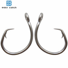 Easy Catch 60pcs 39960 Stainless Steel White Offset Tuna Circle Bait Fishing Hook Size 8/0 9/0 10/0 11/0 12/0 13/0 14/0 15/0