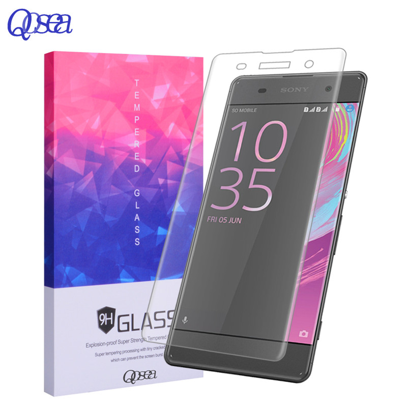 Qosea For Sony Xperia Xa 3D Full Cover Screen Protector Electroplated Ultra-thin Clear 9H Tempered Glass For Sony Xperia Xa Film