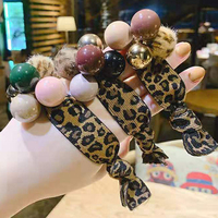 3pcs/Pack Crystal Rubber Band Leopard Print Charm Bead Disc Paved Crystals Hair Band For Women Korean Hair Rope For Women