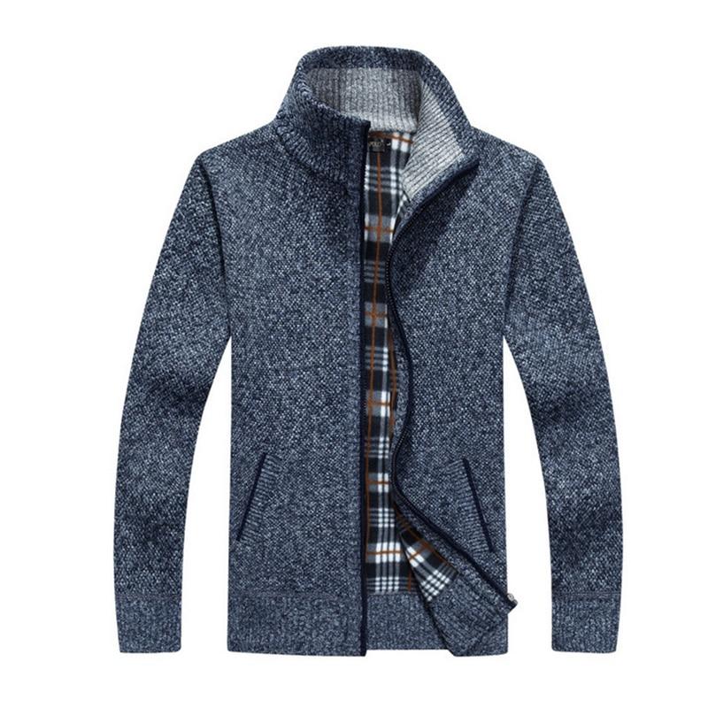 New Autumn Winter Warm Cashmere Dress Slim Fat Wool Zipper Casual Sweater Men Knitted Coat Size 4XL 5XL Mens Fleece Sweate