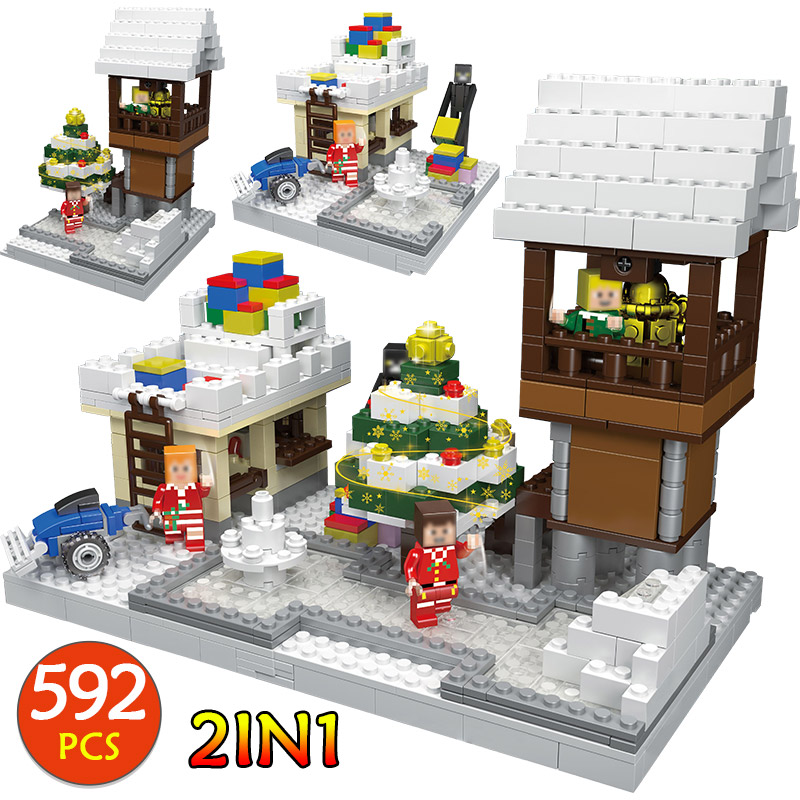 цена на 592Pcs Christmas Series Winter Village Compatible Legoingly Christmas Snow house Technic Building Bricks Blocks Toys Gift