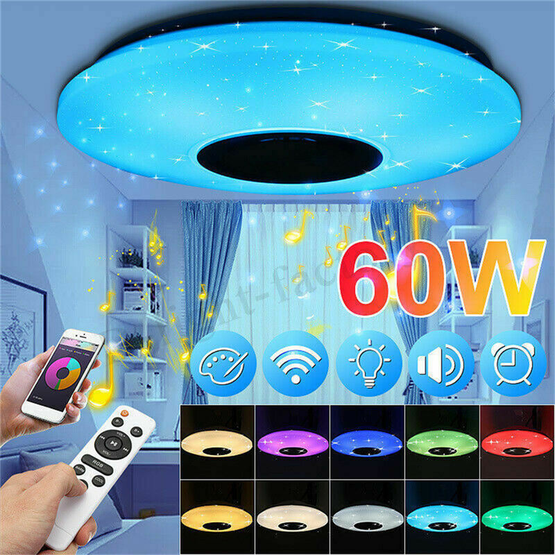 Умный светодиодный потолочный светильник RGB с регулируемой яркостью 60 Вт с управлением через Bluetooth и музыкой, современный светодиодный потолочный светильник для гостиной/спальни 220 В