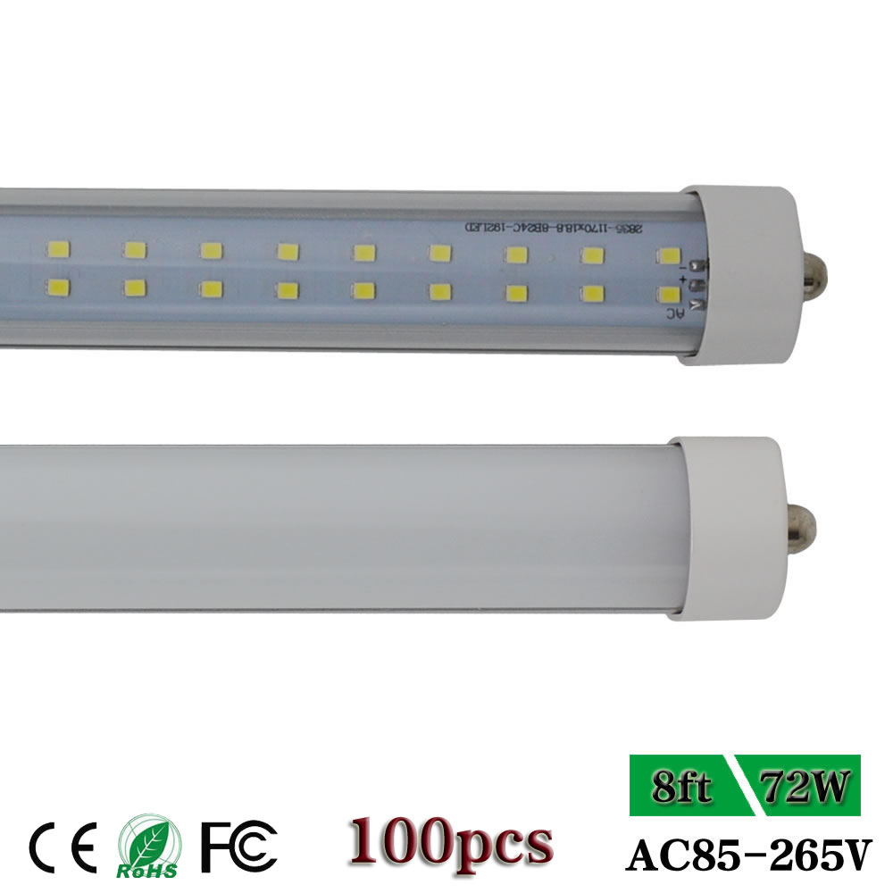 8 Ft 2 Lamp Fluorescent Strip Light White No Ssf2964wp 8ft: CNSUNWAY Fa8 Single Pin Base 8ft T8 72W Led Tube Lights