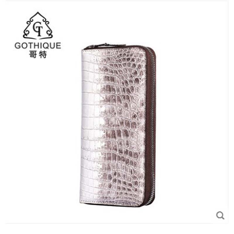gete Crocodile leather hand bag for men 2019 new fashion trend men's bag long leather zipper purse for women