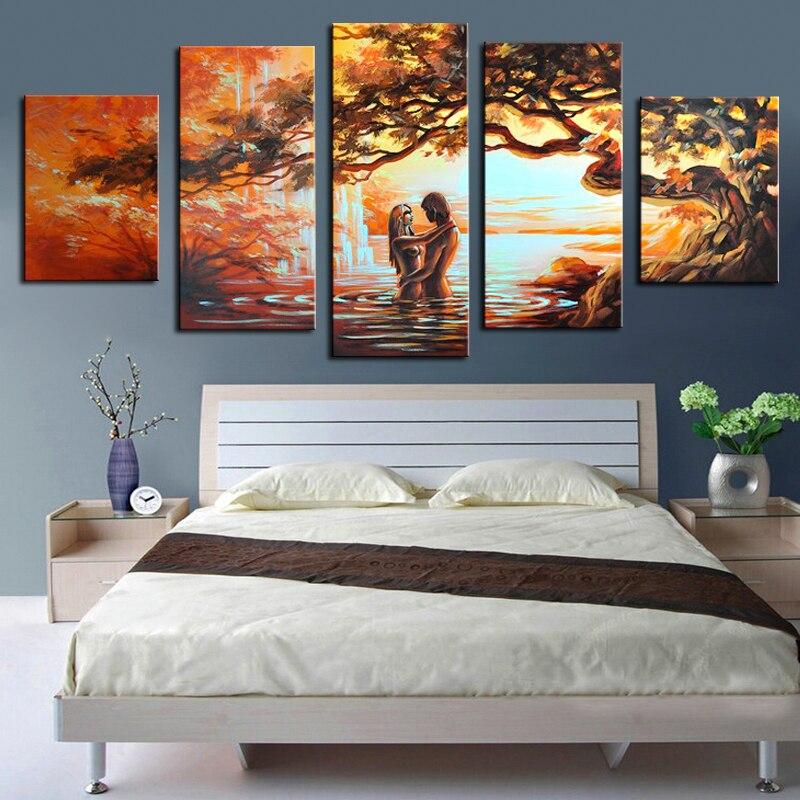 Handgeschilderde Wall Art Liefhebbers Woondecoratie Abstract Landschap Olieverfschilderij 5 Stuks Geen Frame Eetkamer decoratie-in Schilderij & Schoonschrift van Huis & Tuin op  Groep 3