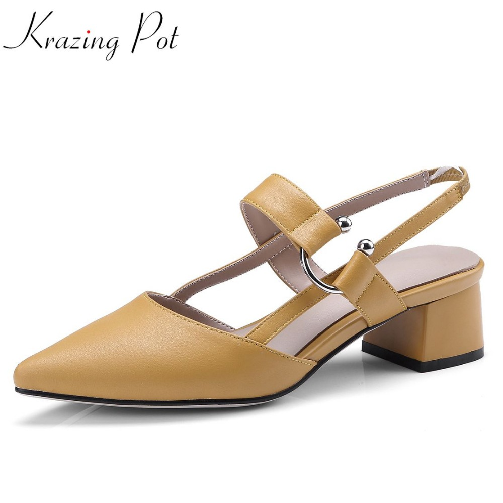 Krazing Pot summer office lady med heels full grain learher solid elastic band buckle pointed toe elegant party pumps shoes L09 krazing pot sheep suede summer elastic band thin med heels beading pointed toe slip on women sexy office lady pumps shoes l96