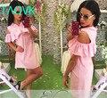 TAOVK 2016 nuevas de la manera mujeres del estilo Ruso sólido manga de la mariposa con cuello con volantes corto delantero volver a largo azul con rosa dress