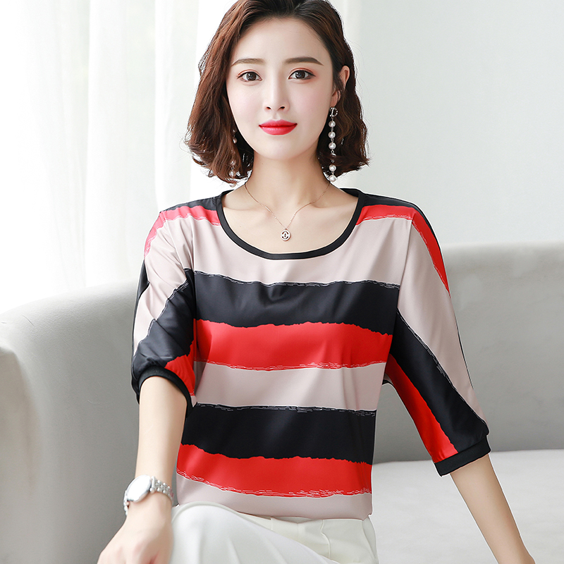 Korean Fashion Silk Women Blouses Striped Satin Short Sleeve Women Shirts Plus Size XXXL 4XL Womens Tops and Blouses Ladies Tops in Blouses amp Shirts from Women 39 s Clothing