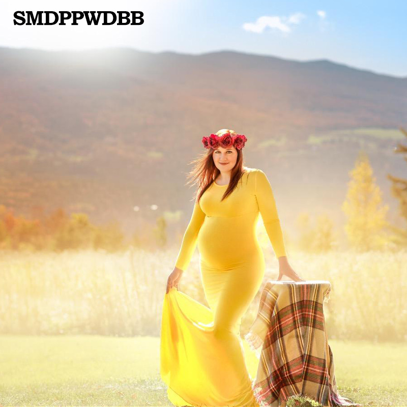 99f3154baa239 Aliexpress.com : Buy SMDPPWDBB Maternity Dress For Photo Shoot Maternity  Gown Baby Shower Dress Maxi Fitted Yellow Maternity Dress Long Sleeve from  Reliable ...