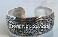 Toptan fiyat NAKLIYE 10 adet ^ ^ ^ ^ XSZ01422 Tribal Mücevherat Yeni! nadir Tibet Gümüş Carve erkek Cuff Bilezik