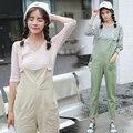 Mujeres de La Manera Verde Beige Color Denim Flaca mono Monos Peto Mono Ladies Casual Jeans Pantalones Mamelucos JS-5572