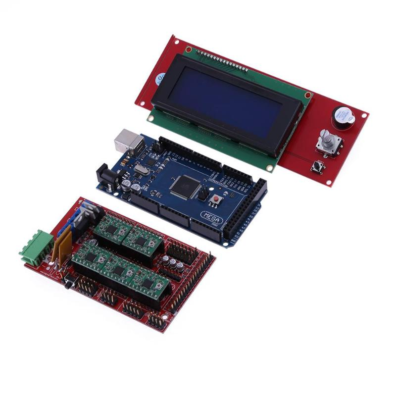 3D Printer RAMPS 1.4 Control Board Kit +Mega2560 Master Main Mother Board Motherboard +A4988 Driver +2004 LCD Display+ Heat Sink soaringe e00316 3d printer kit mega2560 board ramp 1 4 extend shield 4 a4988 stepper drivers