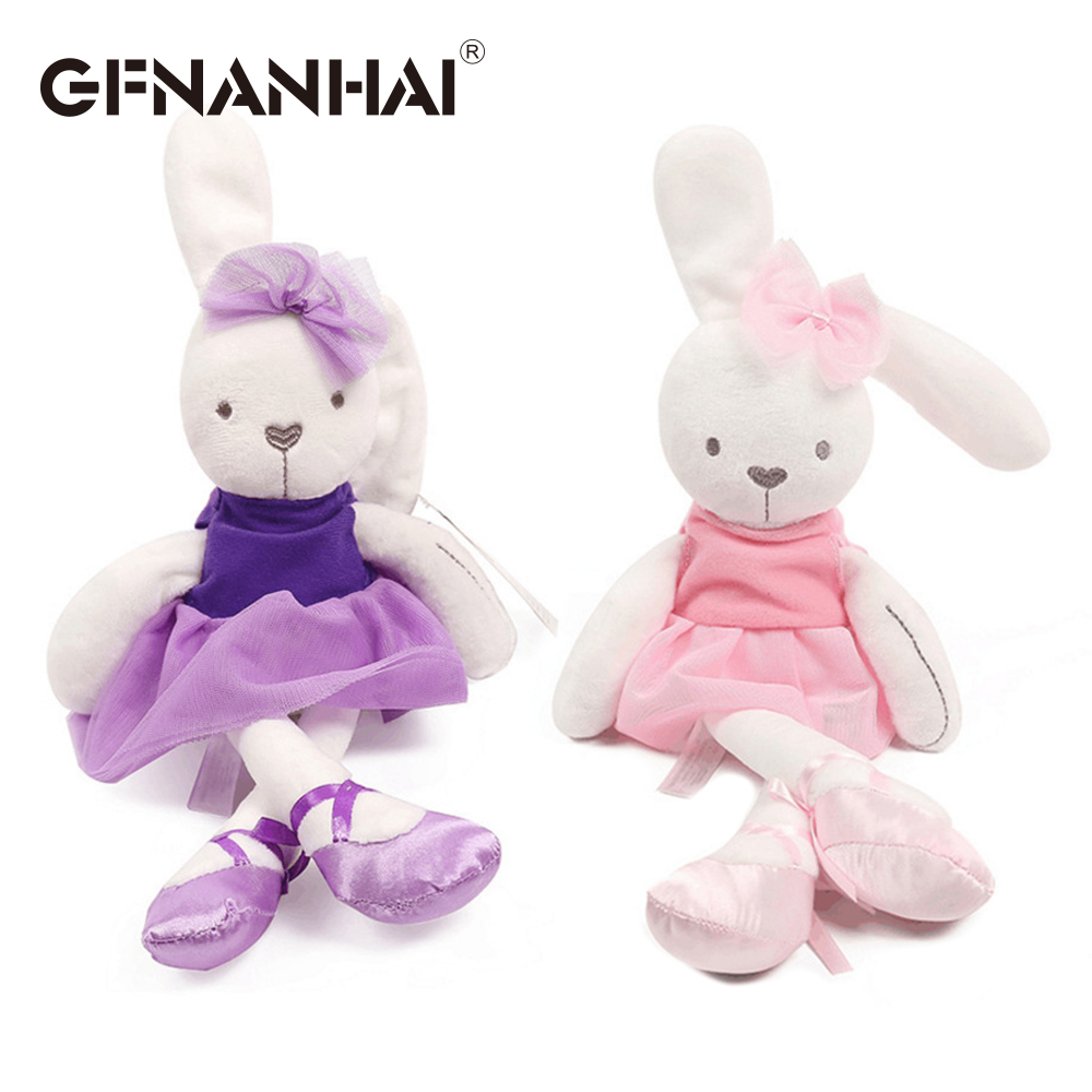 1pc 42cm Cute Rabbit Wear Cloth With Dress Plush Toy Stuffed Soft Animal Dolls Ballet Rabbit For Baby Kids Birthday Gift