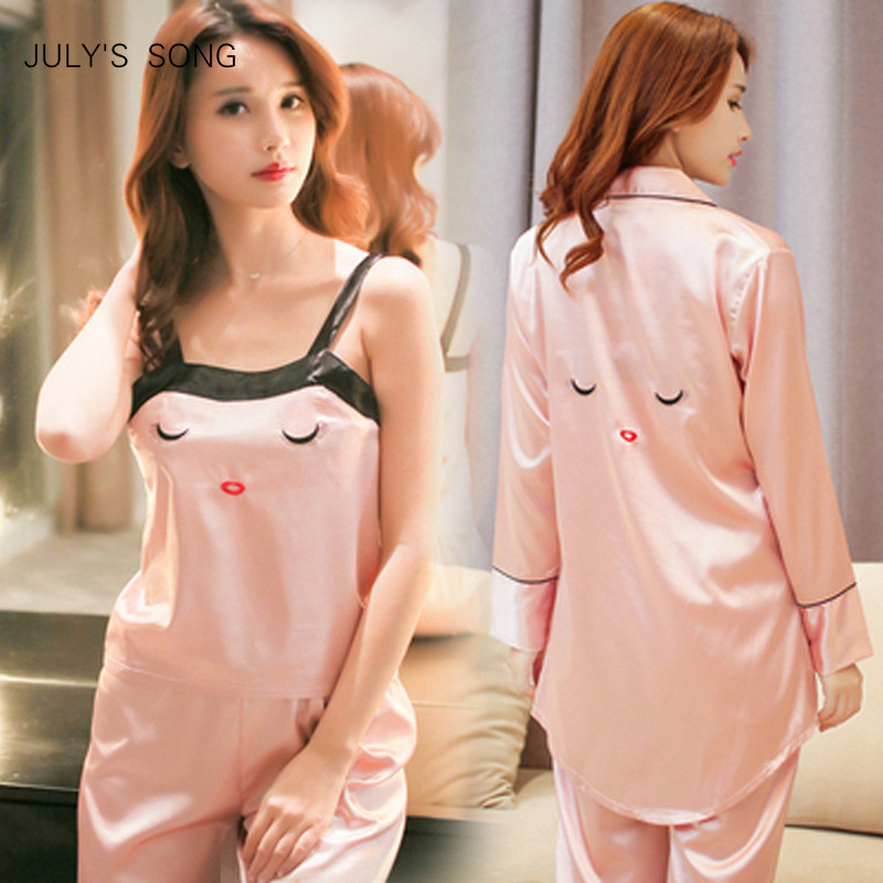 JULY'S SONG 4 Peice Pink Woman Autumn Spring   Pajamas     Set   Sling Satin Silk   Pajamas   Sleepwear For Women Long Sleeves Homewear