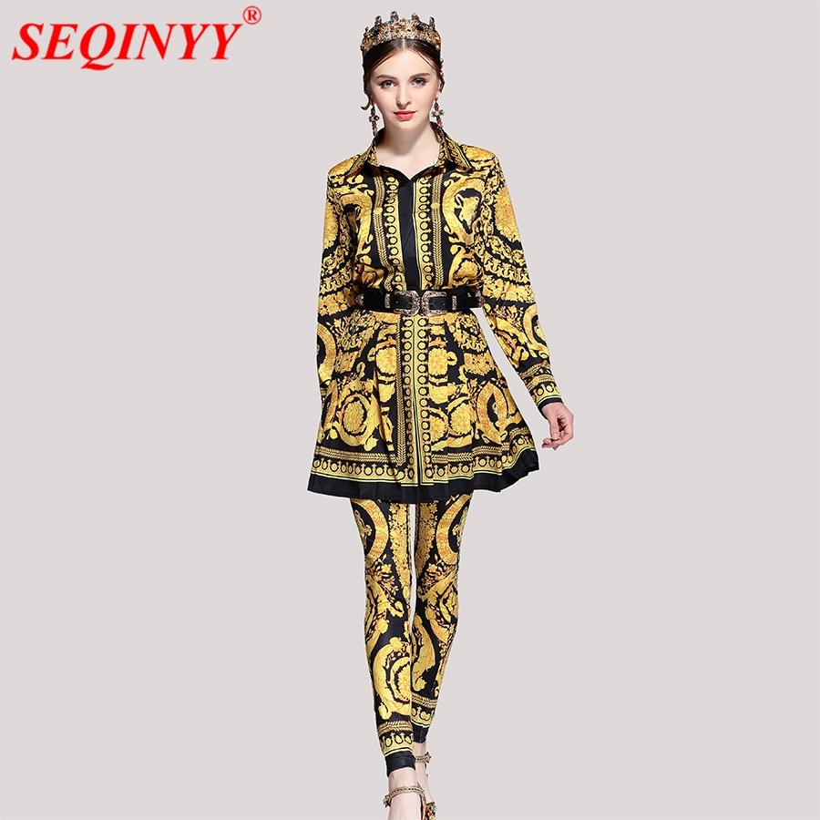 095983e74 Palacio retro mujeres 3 piezas Sets 2018 primavera moda nuevo turn-Abrigos  de plumas collar Camisa + Fajas plisado mini falda + elástica Slim Pant