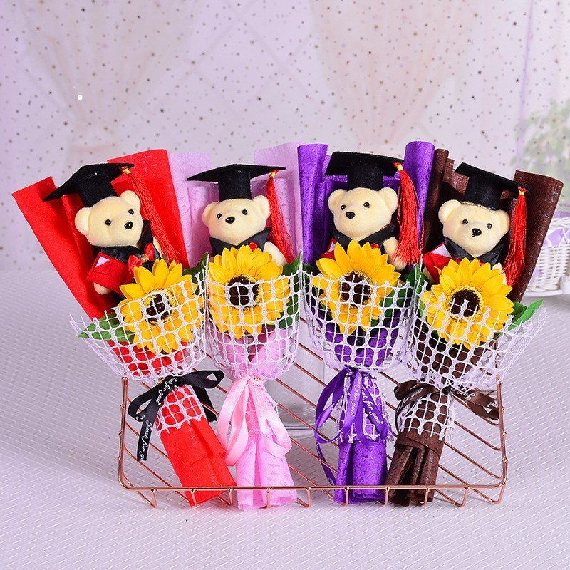 Hot Teddy Bear Plush Toys With Soap Rose Flower Cartoon Bouquets Stitch Stuffed Animals Doll For Graduated Student Graduate Gift