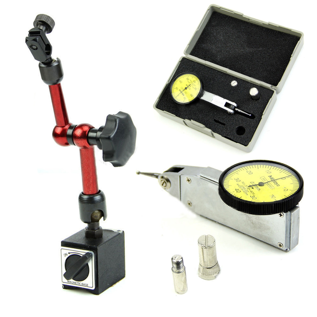 0-0.8mm Precision Dial Test Indicator Gauge with Flexible Magnetic Base Holder For Measuring Tools купить