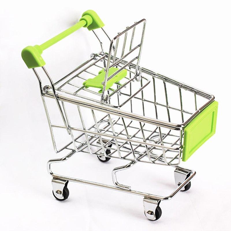 bbd76918c Mini Shopping Cart Basket Storage Toys Supermarket Trolley Holder Office  Desk Storage Cart Baby Toy Handcart Accessories