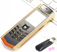 Clearance sale Luxury metal+leather mobile phone original china gsm gift Phone dual sim Cell Phones bluetooth mp3 K8 K6 phone