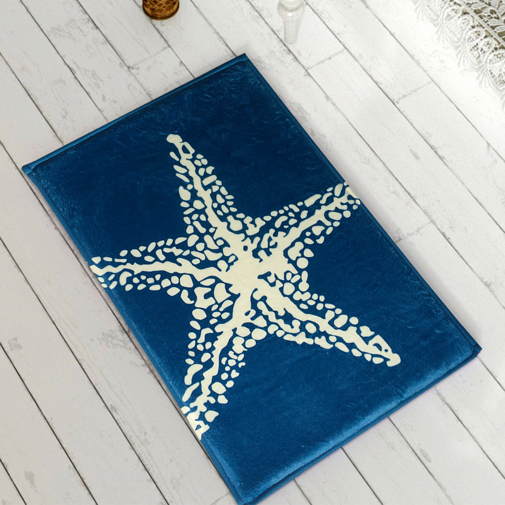 Soft Kitchen Floor Mats Yazi Flannel Blue Starfish Kitchen Floor Mat Anti Slip Rug Soft