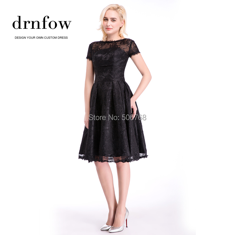 2017 New Lace Cocktail Dresses A line Short Sleeve Knee Length Women ... ac772b0e01ab