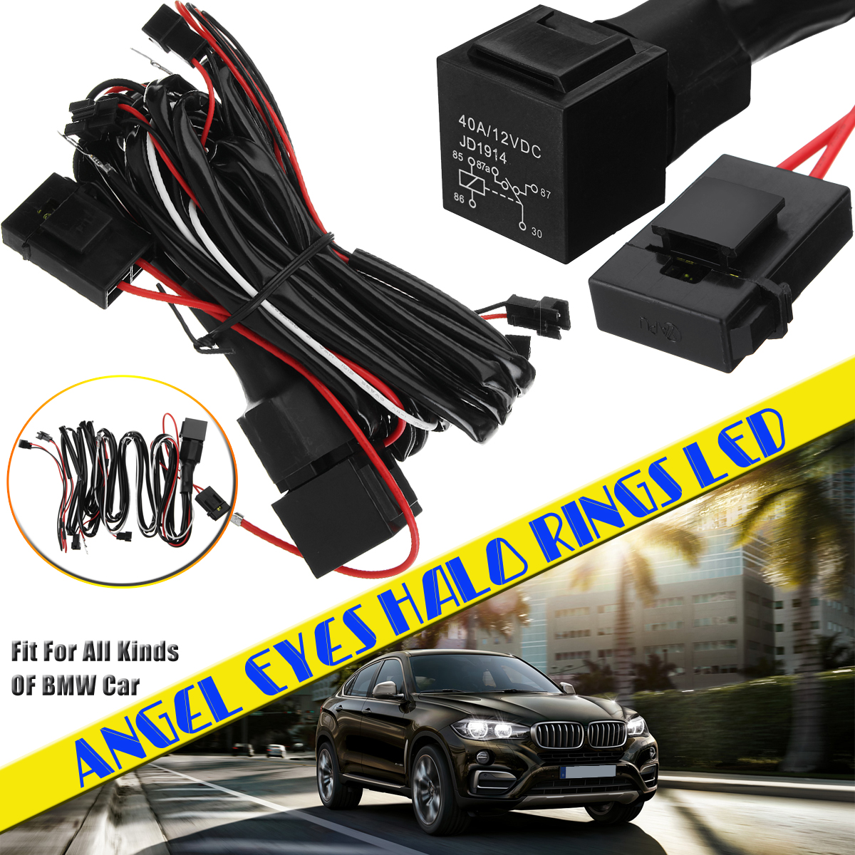Relay Wiring Harness Kit For Bmw Angel Eyes Halo Rings Led Or Ccfl Wire 1997 328i With Fade
