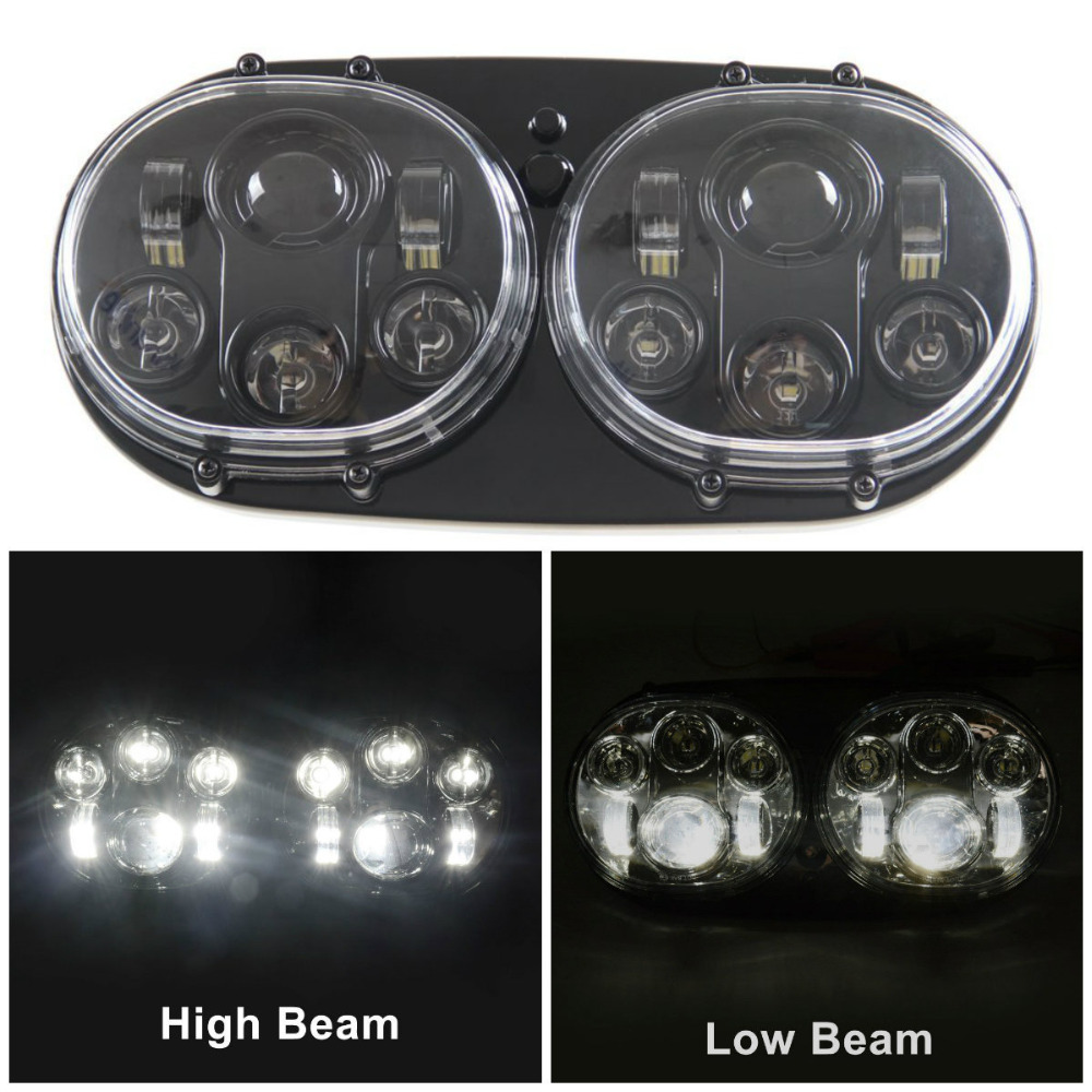 5 3/4 Black Chrome Motorcycle Projector Day Maker Dual LED Headlight for 2004~2013 Harley Davidson Road Glide
