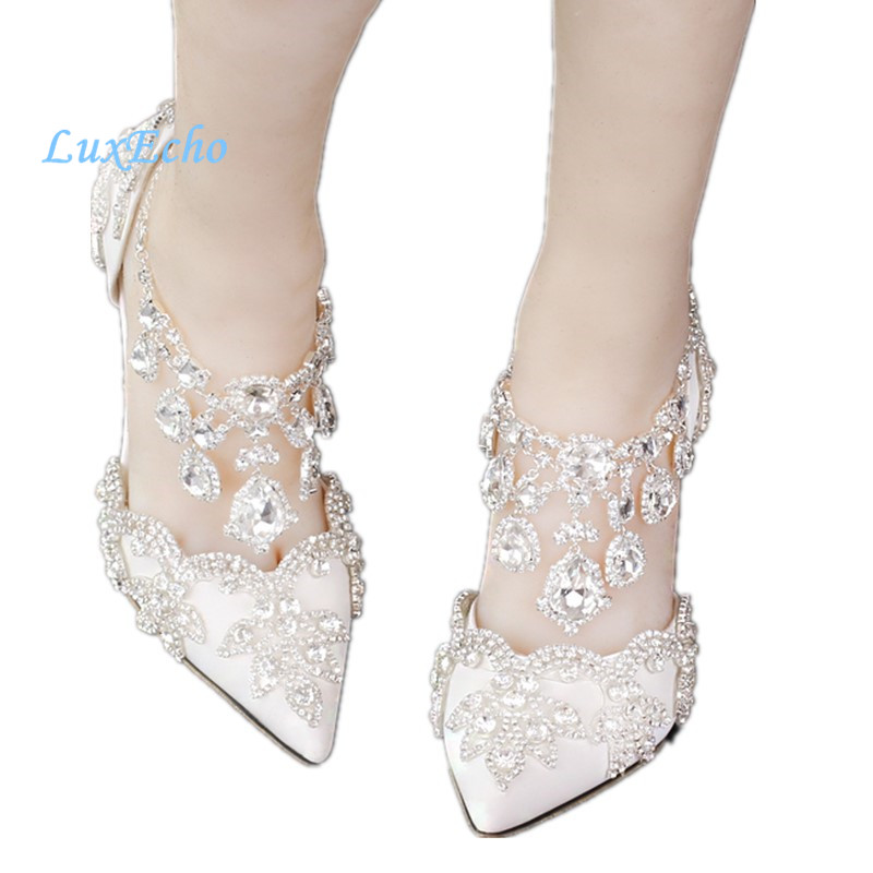 Pointed toe rhinestone ultra high heels wedding shoes banquet formal dress shoes luxury crystal tassel ankle strap  woman pumps love moments wedding shoes bride high heels women pumps pointed toe buckle strap handmade rhinestone crystal party dress shoes