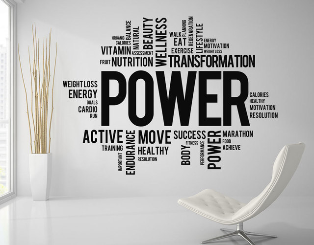 Motivation Quotes Power Fitness Words Wall Decal Gym Inspirational