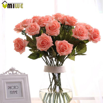 10 Pces/ lot Silk roses flowers looks real-like Touch Artificial Rose Flower Bouquets for Vase Home Wedding Decorations  rose