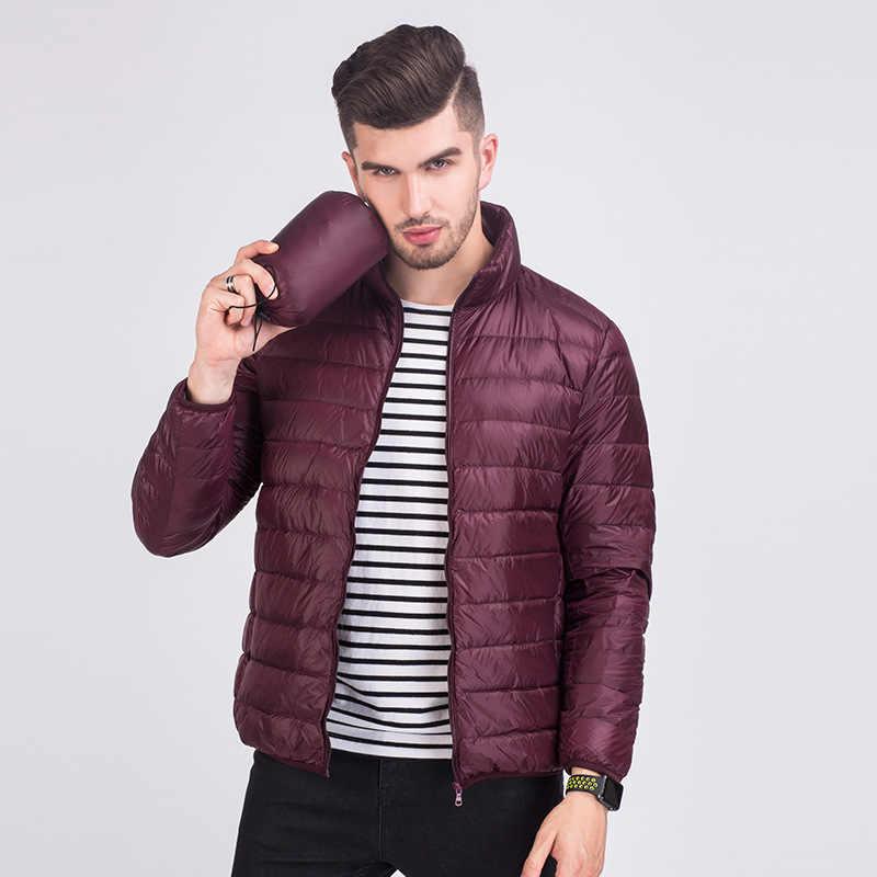 ¡Caliente! Otoño Invierno hombre pato abajo chaqueta Ultra ligero más tamaño primavera chaquetas hombres Collar abrigo