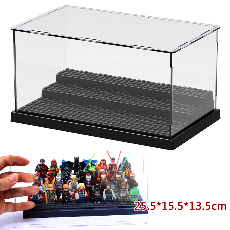 Acrylic 25*14*12cm Show Case Transparent Action Figures Super Heroes Avengers Display Show Box for minifig Kids Toys Gifts plastic original building blocks minifigures show cases ladder collection parts box acrylic display case for action figures p150