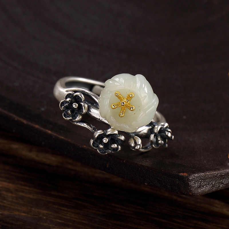 มาใหม่เงินS925เงินบริสุทธิ์r etroธรรมชาติHetianหยกขาวหยกฝังพลัมดอกเลดี้เปิดแหวนแหวนขายส่ง