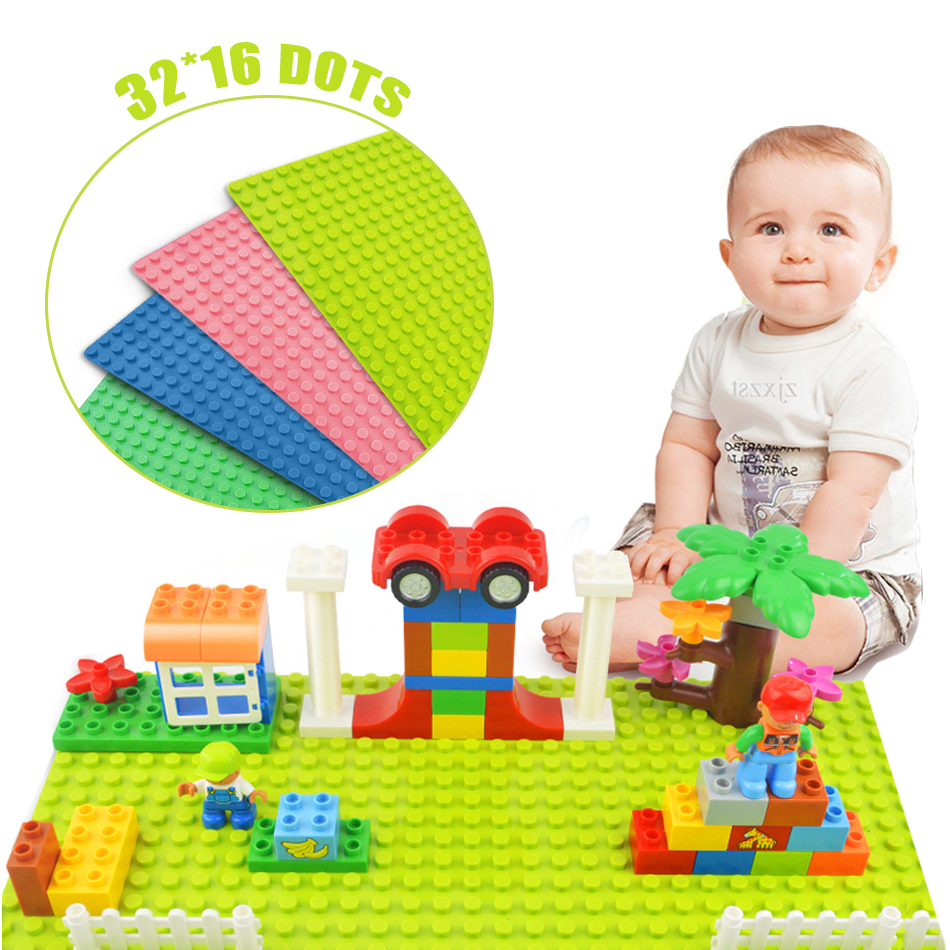 32*16 Dots Large Size Baseplate Big Base Plate Exlarge Brick Solid Plate Toys Compatible With Duploe Toys For Children Kids [bainily]16 32 dots base plate for small bricks baseplate board diy building blocks toys for children compatible with legoinglys