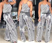 Sexy Halter O Neck sleeveless Sequins Jumpsuit Autumn Glitter Chirtmas Party Rompers One Piece Outfits Clubwear