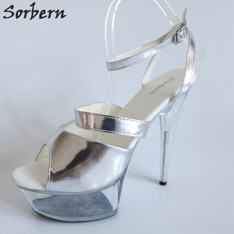 Sorbern Silver Patent Leather Women Sandals Straps Summer Shoes Ladies High Heels See Through Perspex Heeled Sandals For Women trendy see through off the shoulder long sleeve lace blouse for women