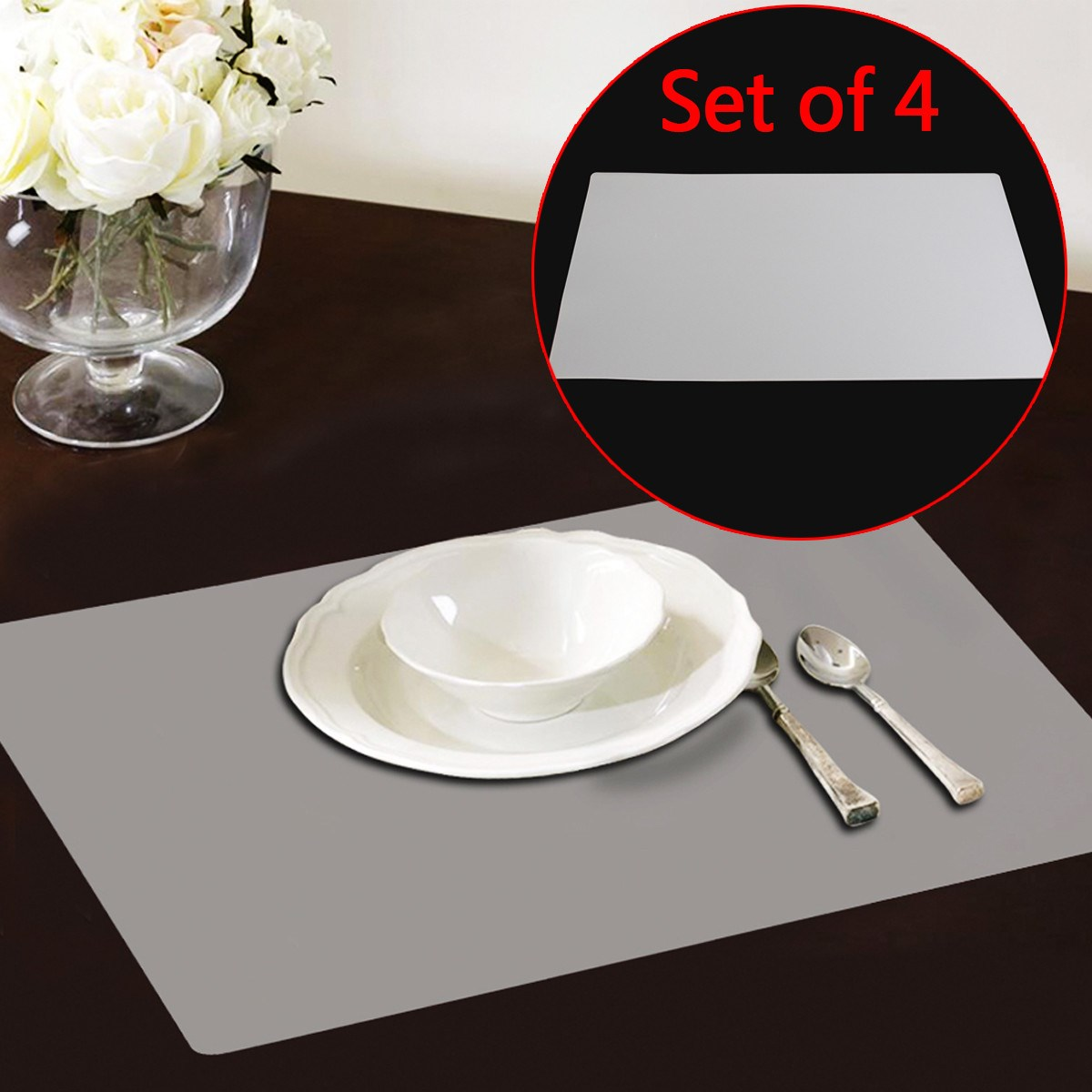Vinyl Placemats Nz Placemat Set Of Reversible Kitchen Table - Clear placemats for table