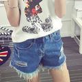New Women Jean Shorts Fashion Washed Trousers High Waist Ripped Holes Tassel Casual Demin Shorts Plus Size Maternity Clothes