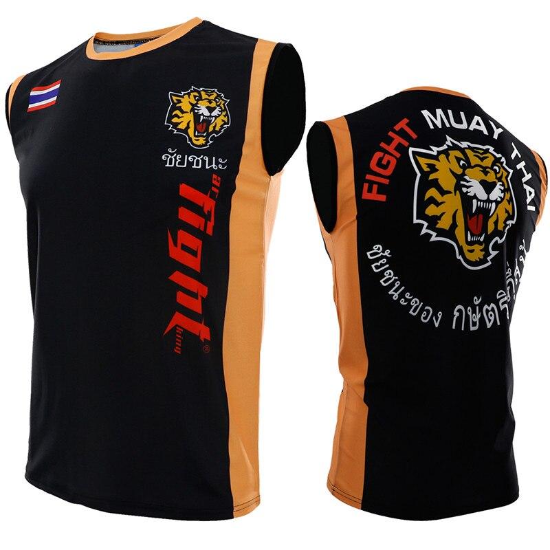 Tiger Rashguard Mma Muay Thai T Shirt Men Sport Jersey Anime Printed Sleeveless Compression Tights Boxing Shirt Muay Thai Jersey