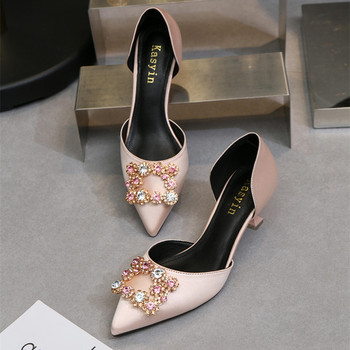 2018, the new pointed thin-heeled hollow wedding shoes for female rhinestone square - buckled cat are black work shoes