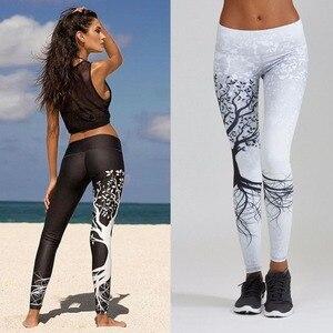 Image 5 - 패션 피트 니스 인쇄 레깅스 여성 높은 허리 레깅스를 밀어 3d 디지털 트리 인쇄 슬림 폴리 에스터 하라주쿠 legging XS XL