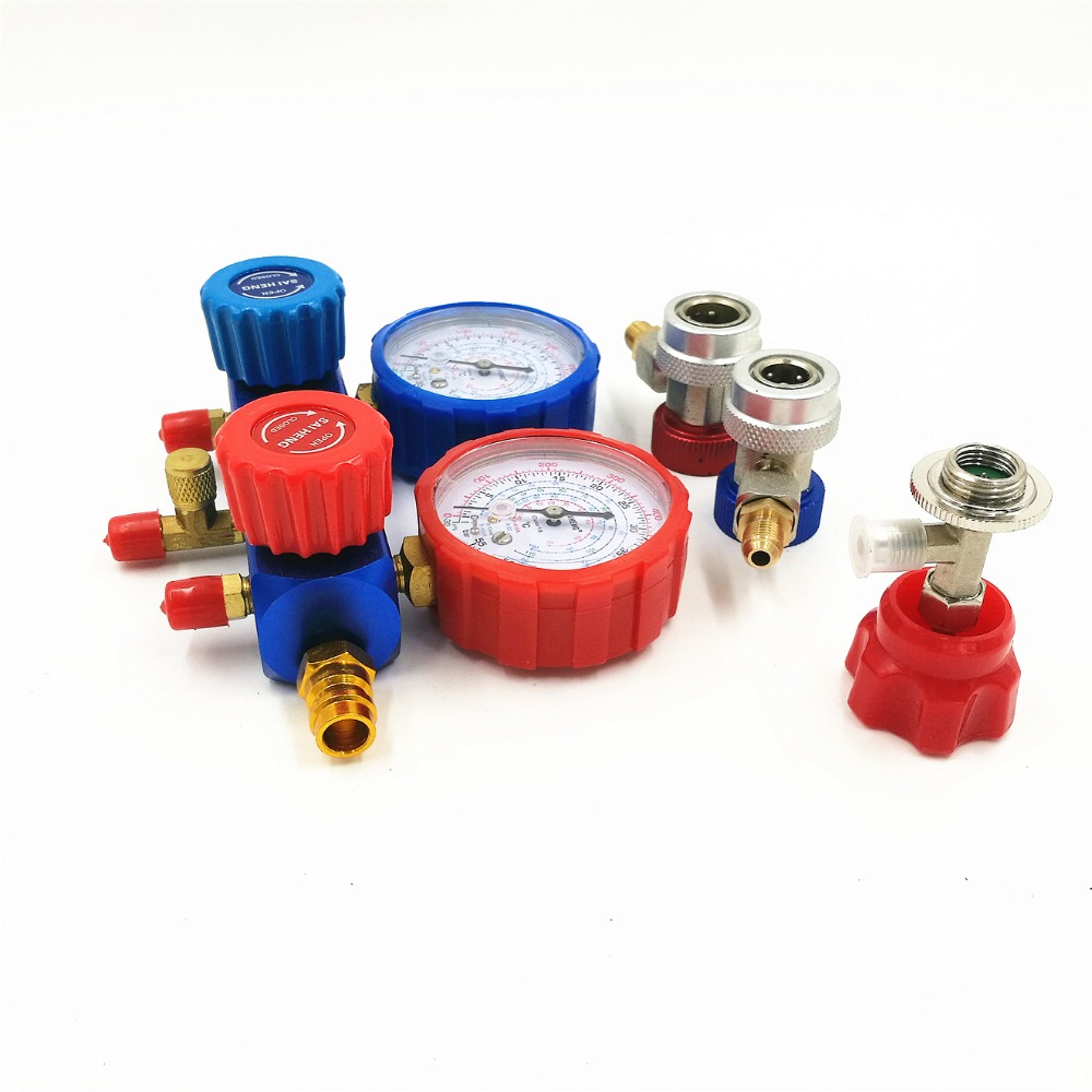Car Air Conditioner R134A Manifold Gauges Freon Refrigerant Pressure Gauge + Tricolor Fluoridated Tube Hoses+2pc Quick Couplers