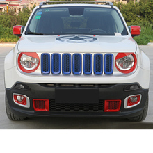 Lsrtw2017 Abs Car Front Grill Middle Net Inlet Trims Headllight  Cover for Jeep Renegade