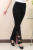Alargamento Pants mulheres longa de cintura alta calças Flare bordado preto escritório calças 5XL Skinny alargamento perna calças de dança calças Slim